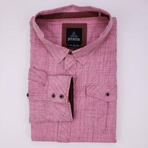 Prana Pink Shirt XL Button Front Mens Organic Cott